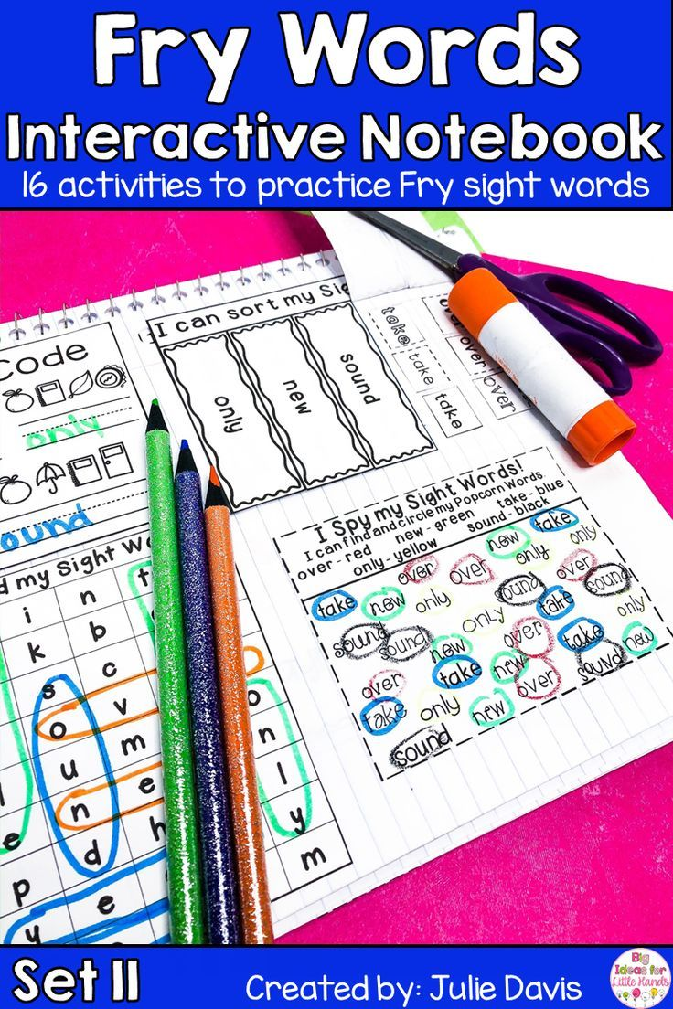 Fry Second 100 Set 11 Sight Word Interactive Notebooks in 2020