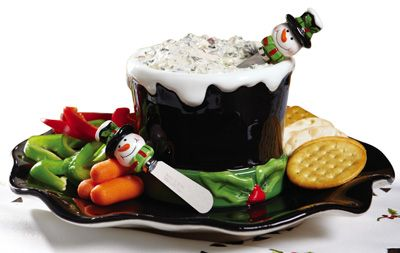 Snowman Hat Chip and Dip Serving Set