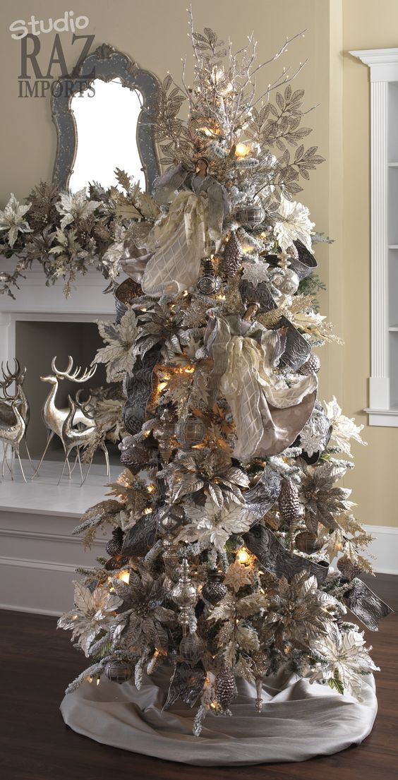 Unique Silver And White Christmas Tree Made Of Ornaments Decorations