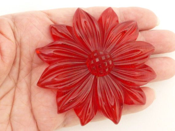 Hand Carved Over Dyed Red Bakelite Sunflower by GliterzbySal