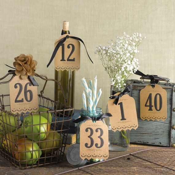 Kraft Paper Table Number Tags For Wedding Reception by AisleTime