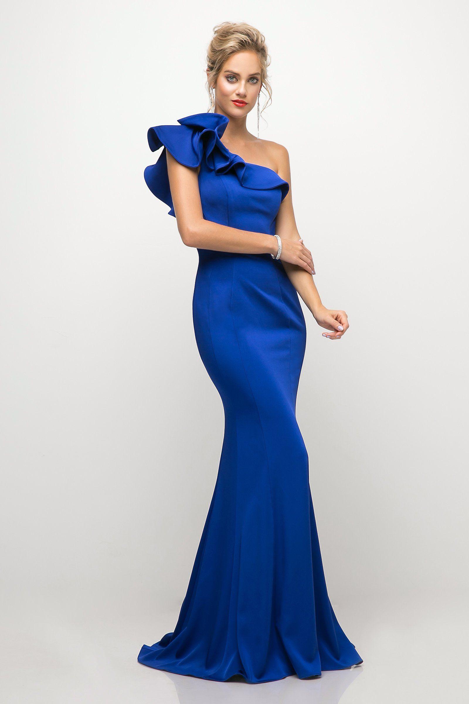 8714212edd2e19 Ruffled Asymmetric One Shoulder Gown by Cinderella Divine ET325