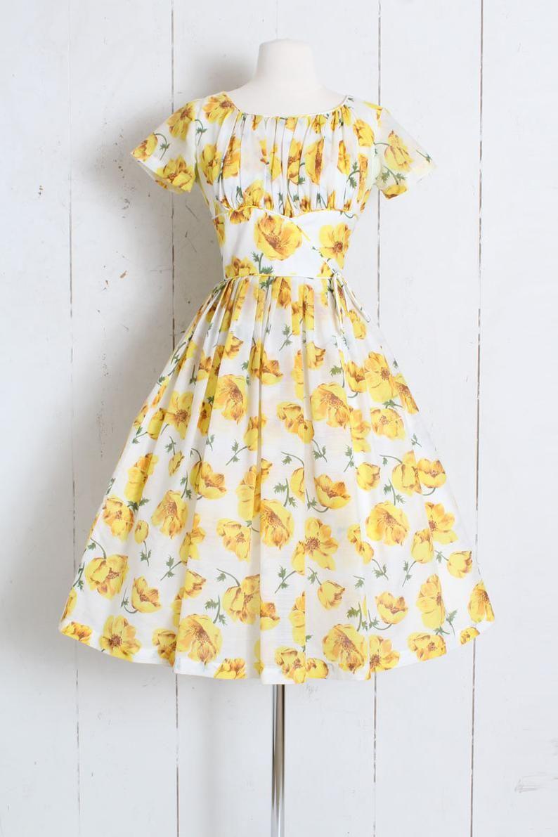 Vintage 1950s 50s Dress Yellow Primrose Floral Print Cotton Etsy Yellow Dress Yellow Dress Outfit Printed Cotton Dress [ 1191 x 794 Pixel ]