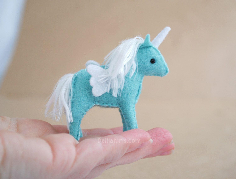 Mini Stuffed Unicorn Plush - Felt Stuffed Miniature Alicorn Soft ...