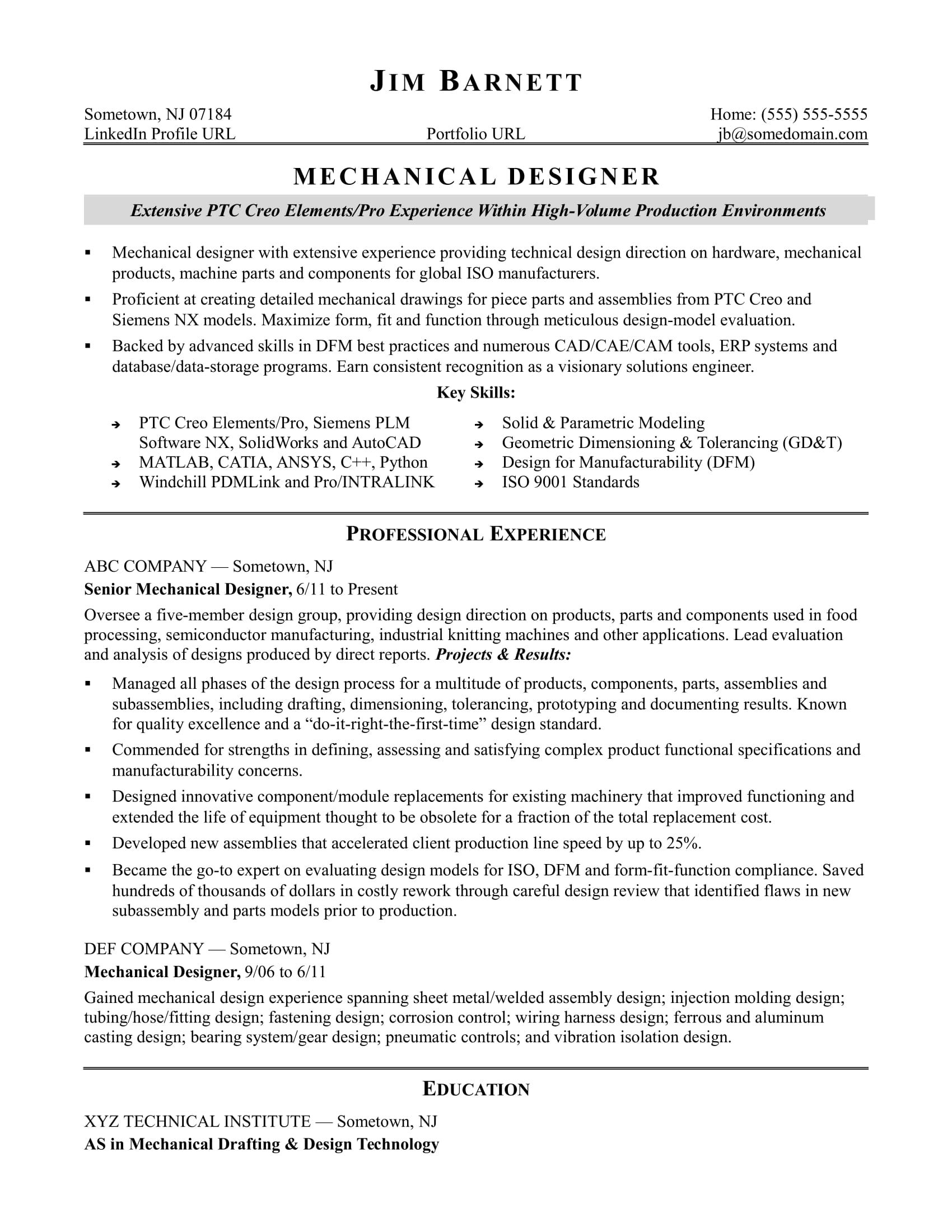 Sample Resume For An Experienced Mechanical Designer Mechanical Engineer Resume Resume Examples Resume Templates