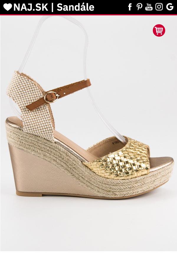 3f0b02516a11 Zlaté sandále espadrilky Kylie v roku 2019