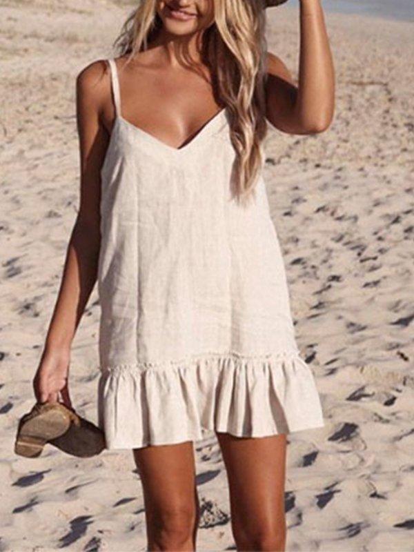 Casual Sleeveless V Neck Plus Size Dress