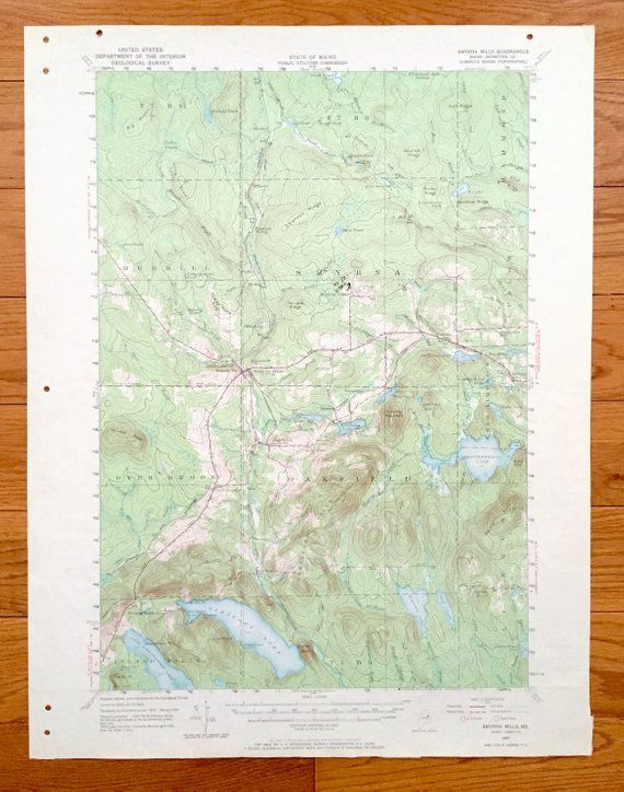 Antique Smyrna Mills Maine 1955 Us Geological Survey Topographic - Map-of-us-paper-mills