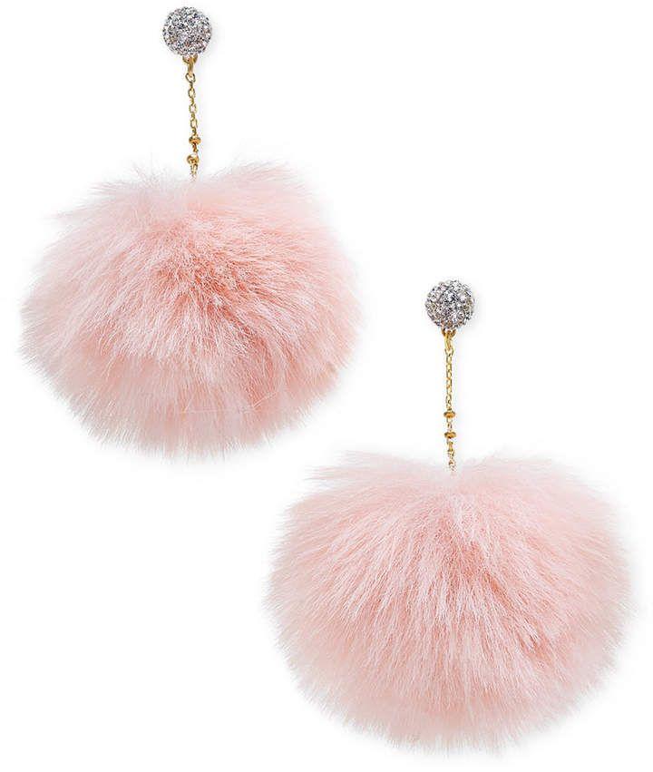 62a752fd5 Kate Spade Gold-Tone Pave Orb & Faux Fur Pouf Drop Earrings Pouf,