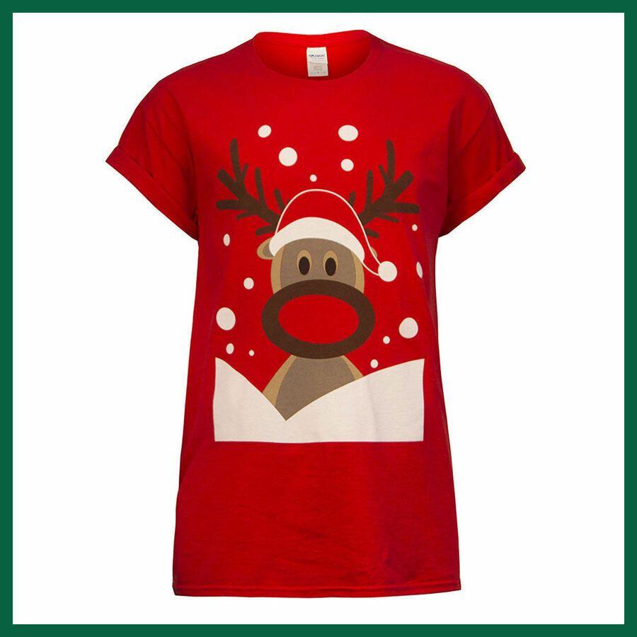 New Ladies Mens Novelty Xmas Santa Reindeer Print Unisex Christmas T-Shirt Top