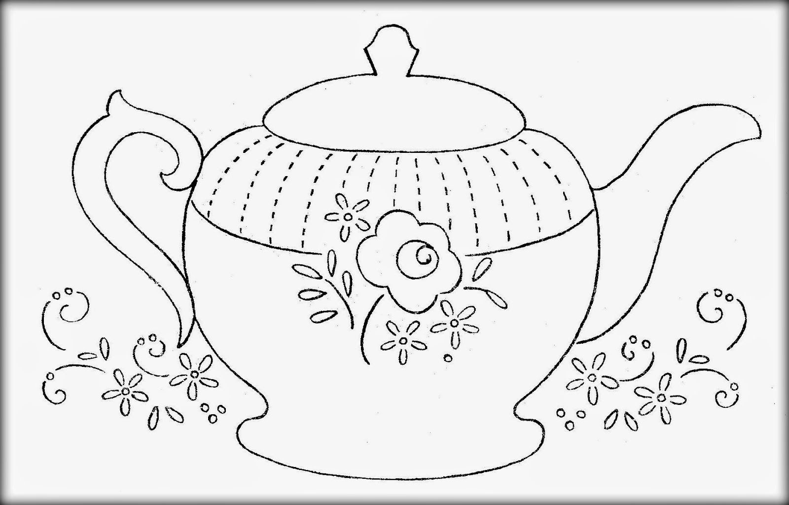 simple coloring pages of tea cups | I'm a little teapot...freebie | Hand quilting patterns ...