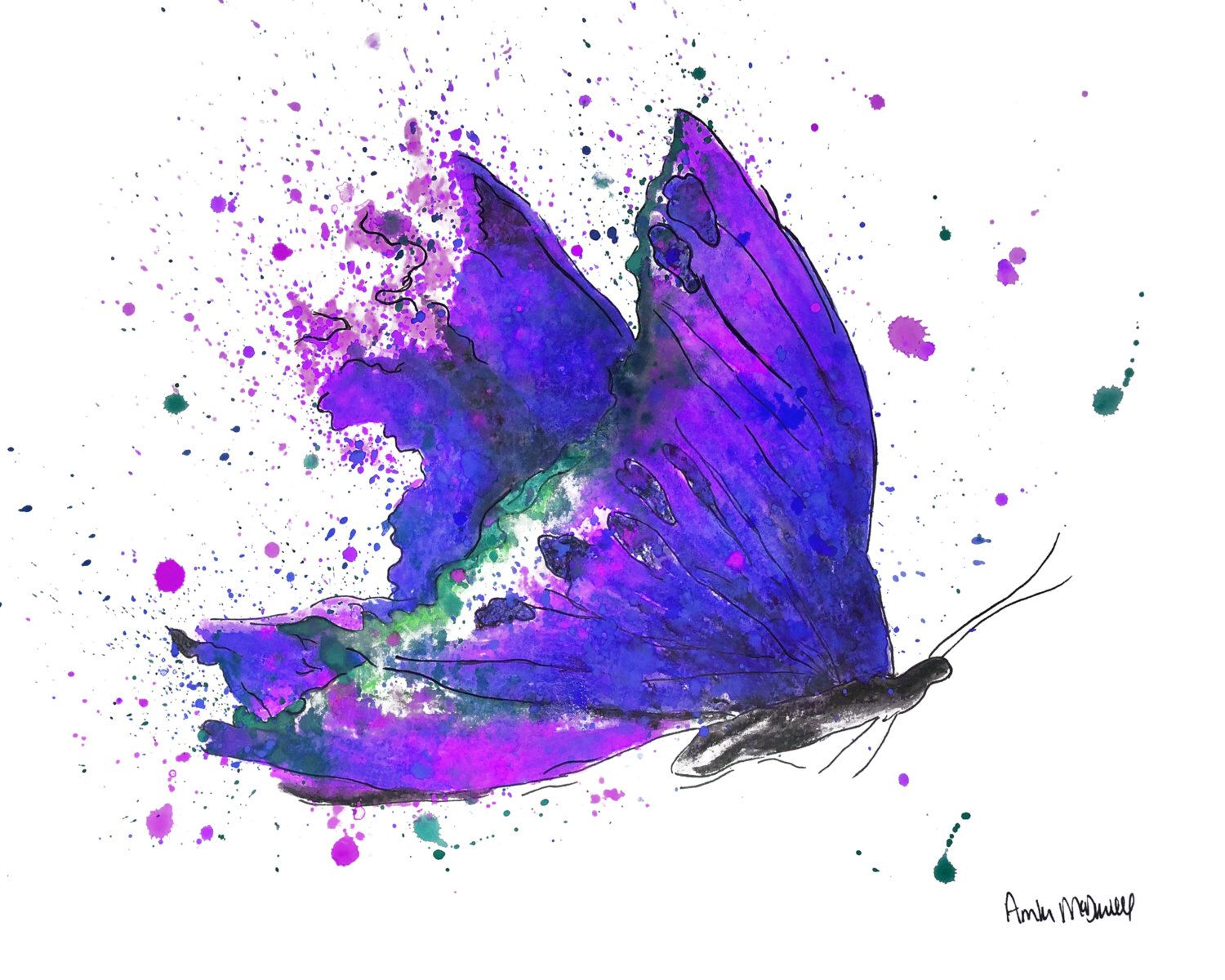 Purple Butterfly Art Print On Paper Or Canvas Watercolor Purple