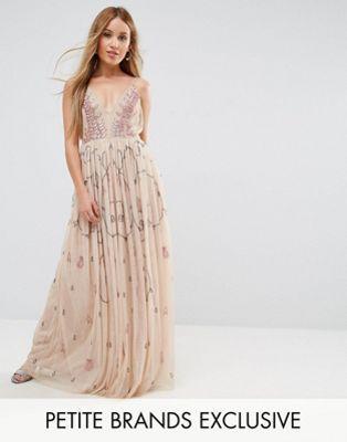 776b22df Maya Petite Cami Strap Plunge Embellished Maxi Dress   Clothes ...