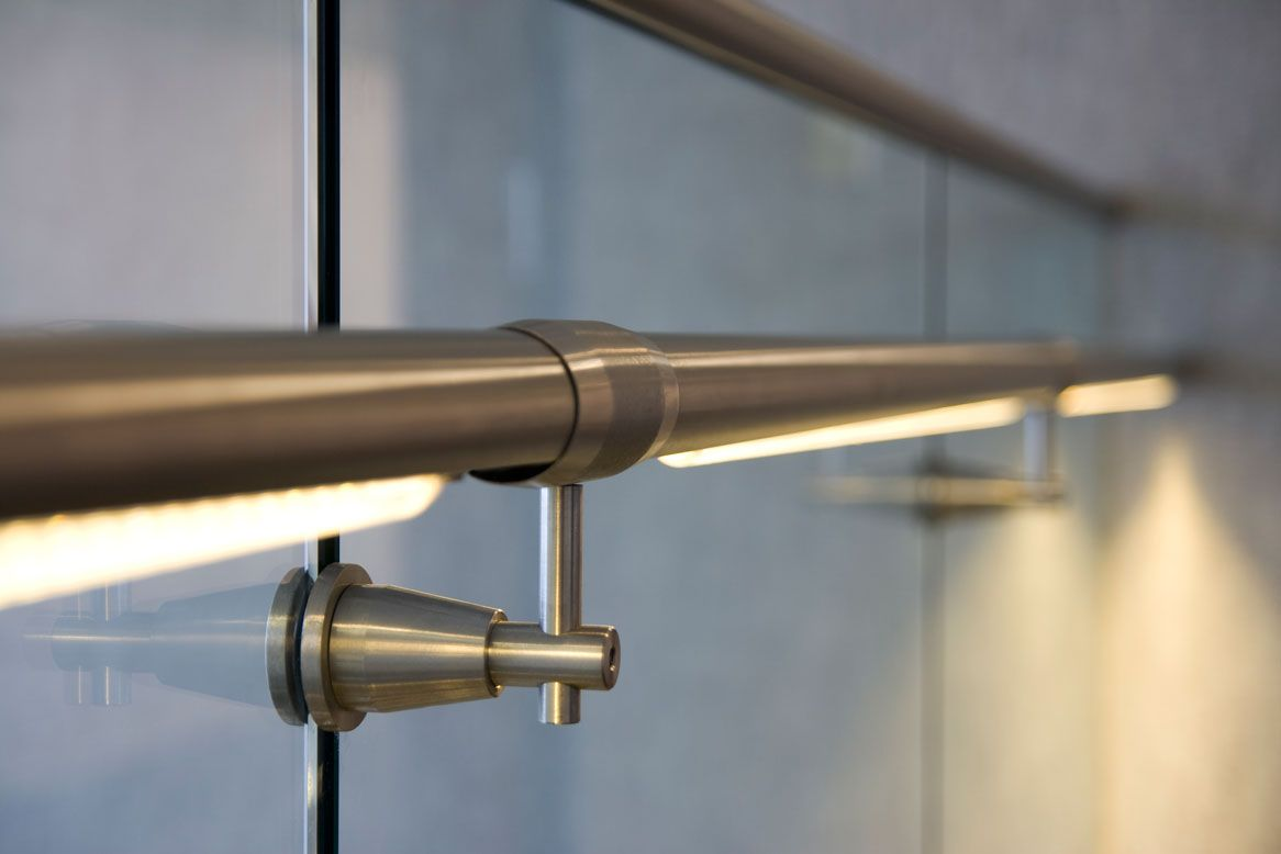 Lumenrail Led With Gl Railing And Slip Fit Handrail Bracket Courtesy Of Wagner Companies