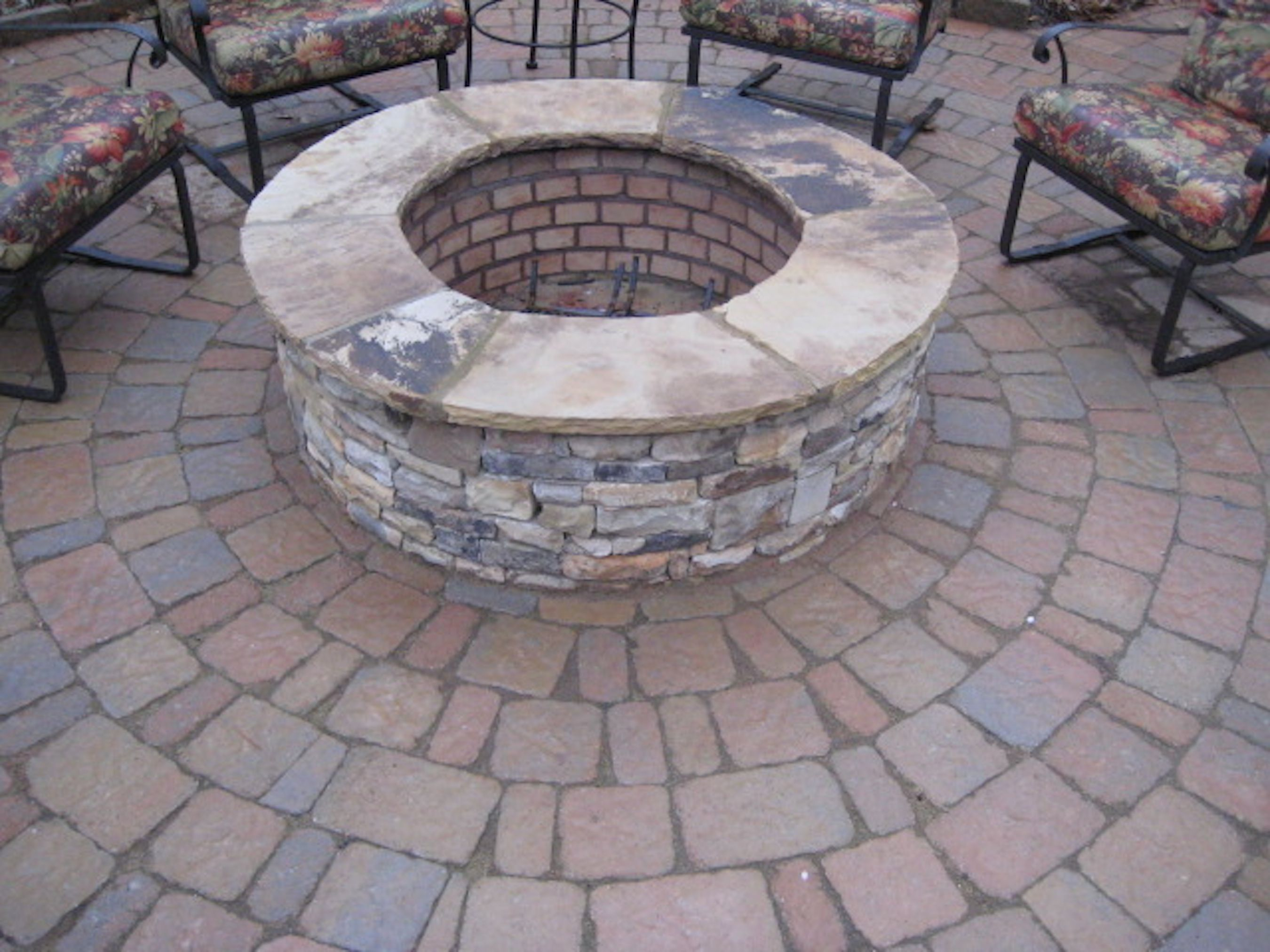 Stacked Stone Firepit With Flagstone Cap Like The Brick Work Designed By Boyce Design Stone Fire Pit Hardscape Backyard Fire Pit