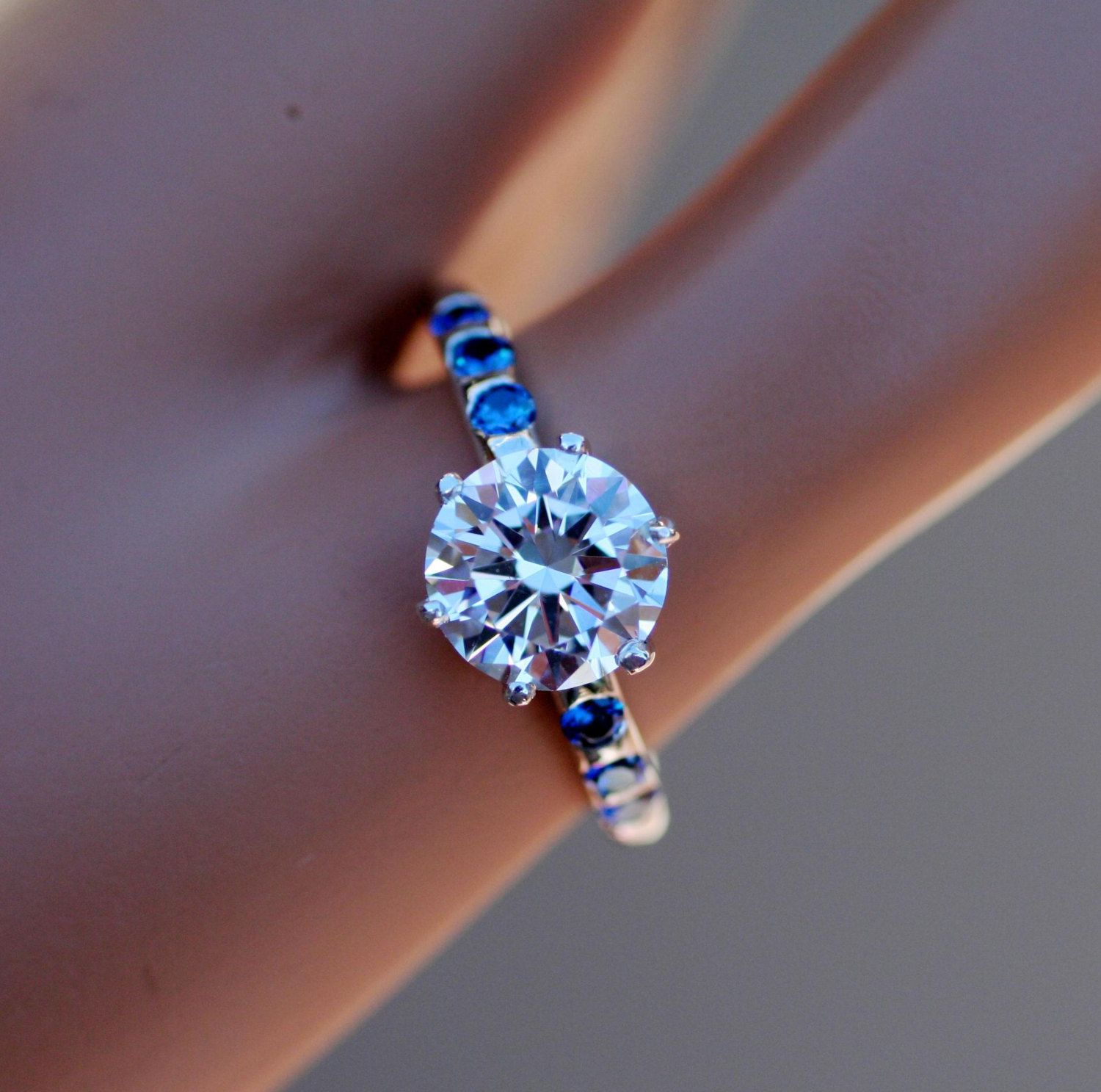BRILLIANT BLING! Colorless with Ocean Blue Cubic Zirconia Solid Silver Ring by ORlove on Etsy https://www.etsy.com/listing/250678780/brilliant-bling-colorless-with-ocean