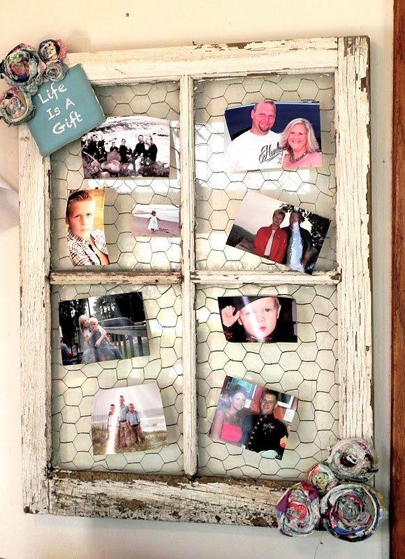 Old Window with CHicken Wire...Chicken Wire Frame...Old Window Pane ...