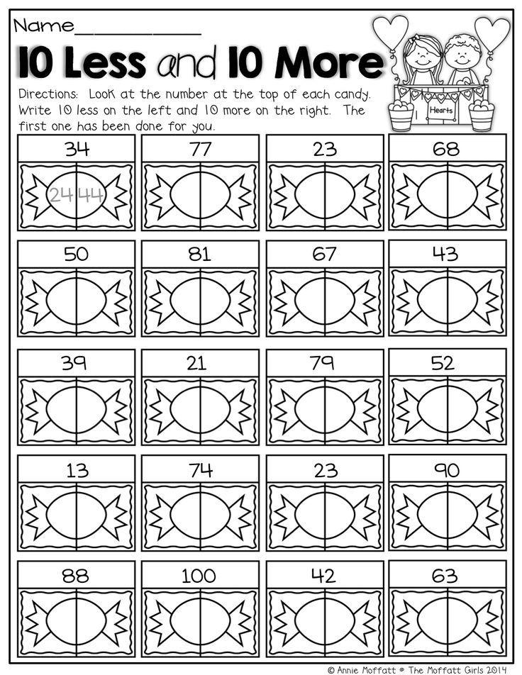 10 More and 10 Less 1st grade School maths – Ten More Ten Less Worksheet