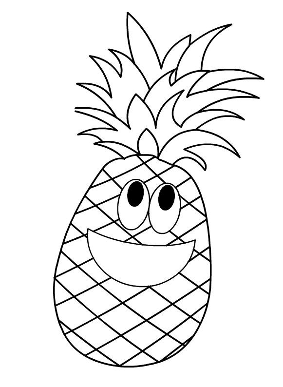 Pineapple Coloring Page Boyama Pinterest Fruit Coloring Pages
