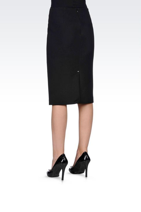 Armani Jeans Women Knee Length Skirt - MIDI SKIRT IN TECHNICAL VISCOSE Armani Jeans Official Online Store