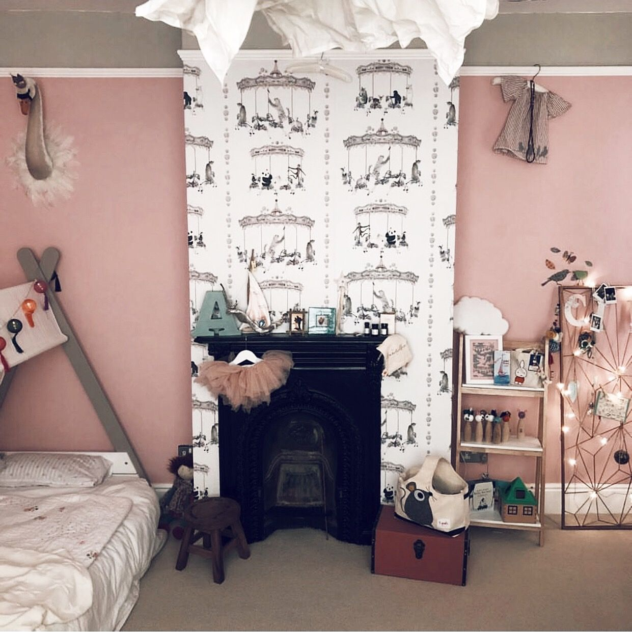 Best Carousel Animal Wallpaper Blush Pink Pink Bedroom For 400 x 300