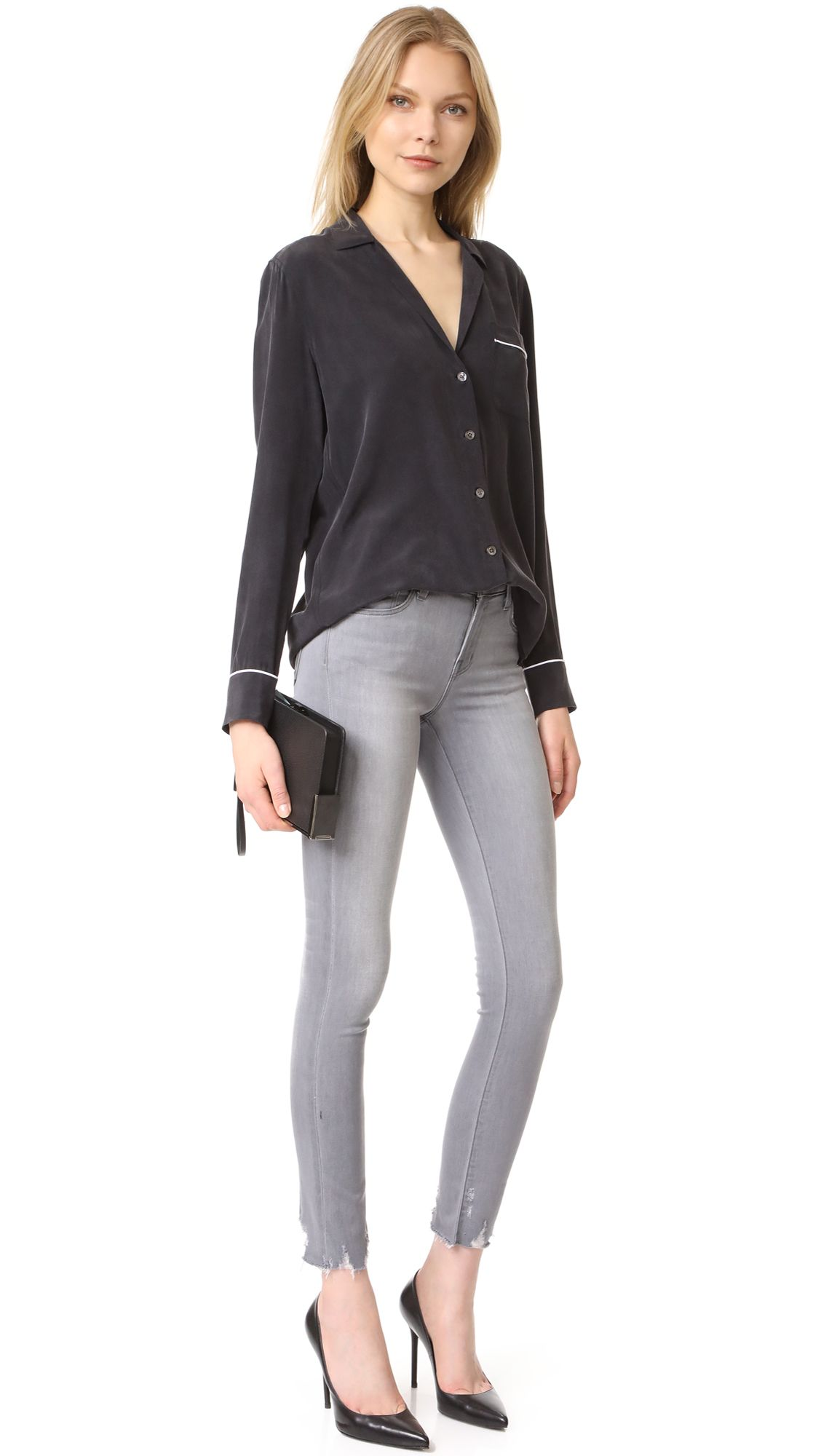 811 Mid Rise Skinny Jeans with Raw Hem
