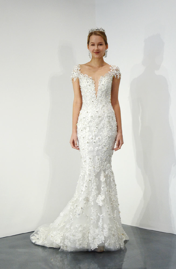 Cap Sleeve V Neck Beaded Lace Fit And Flare Wedding Dress By Ysa Makino Image 1 Fitted Wedding Dress Embroidered Wedding Dress Fit And Flare Wedding Dress