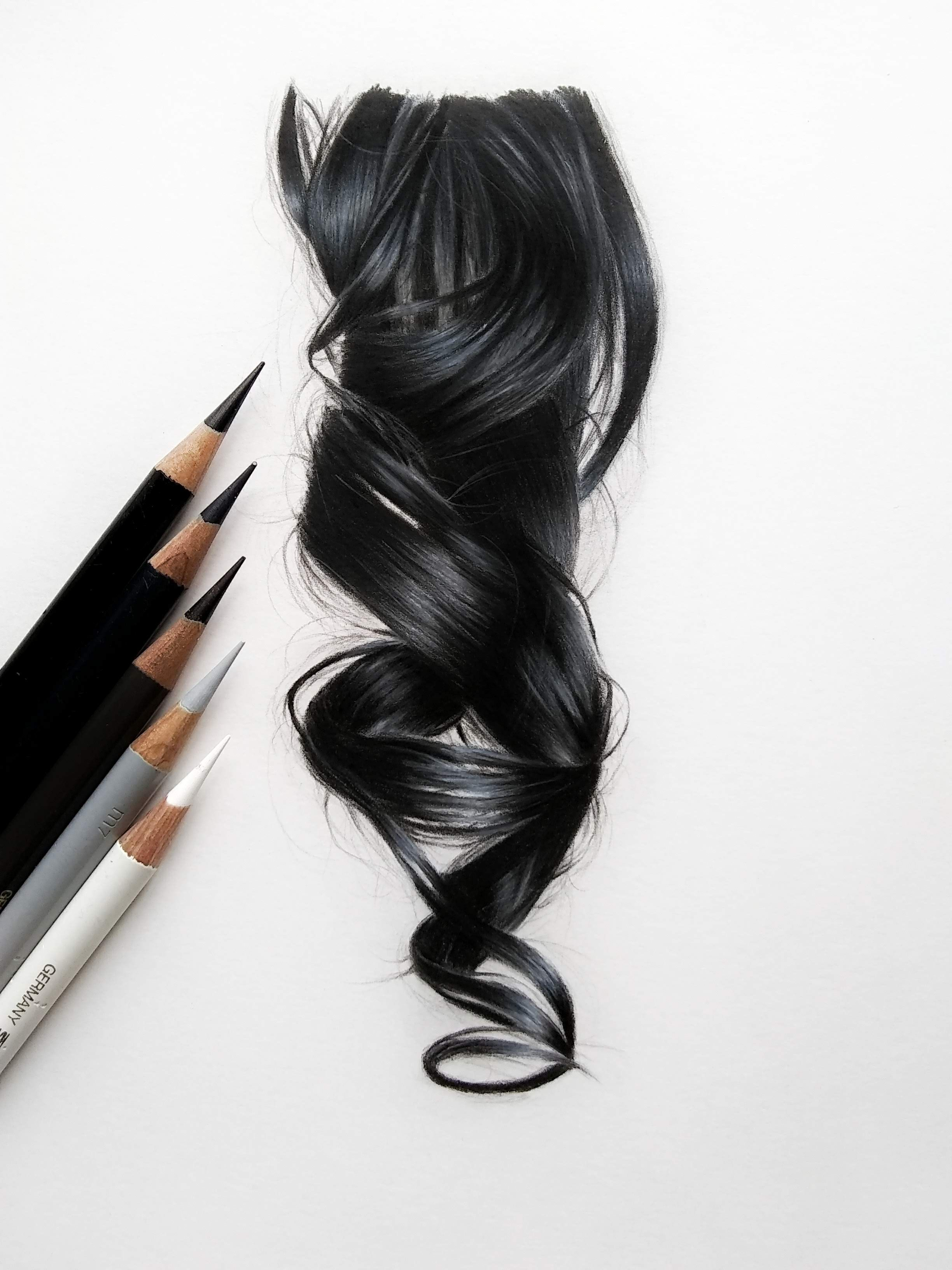 How To Draw Black Hair With Colored Pencils How To Draw Hair Hair Color For Black Hair Hair Painting