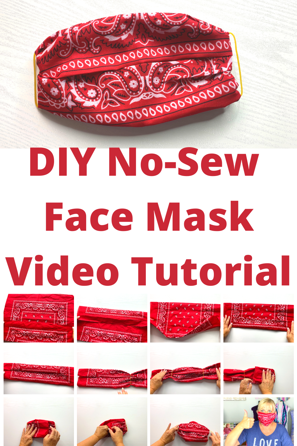 Photo of Easy No-Sew DIY Face Mask with Bandana and Elastic Bands Video Tutorial — KRISTIN OMDAHL