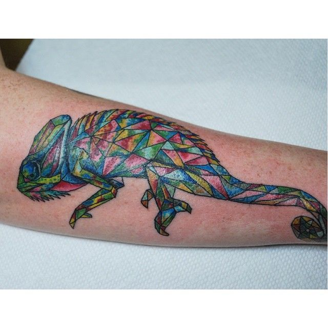 Evil Chameleon Tattoo: Colorful Chameleon. #geometry #geometrictattoo
