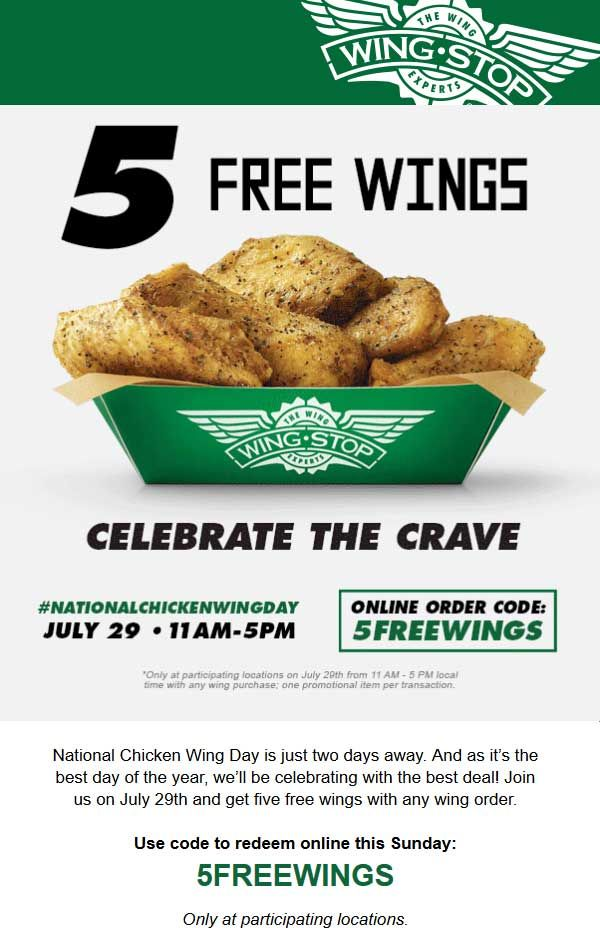 Pinned July 28th FREE wings Sunday at Wingstop