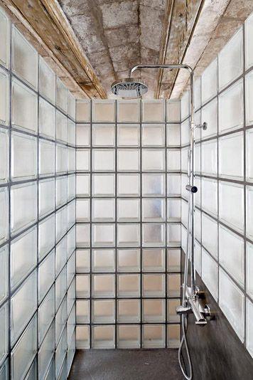Glass block shower enclosure bathroom at 50 m2 flat barcelona