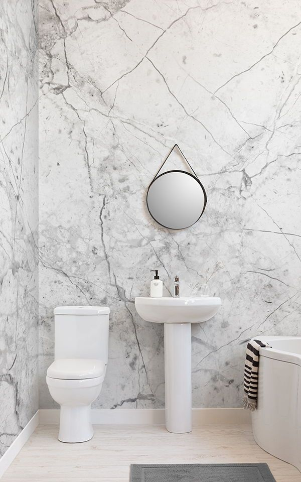 Textured White Marble Wallpaper Mural Murals Wallpaper In 2021 Small Bathroom Wallpaper Bathroom Wallpaper Small Bathroom Decor