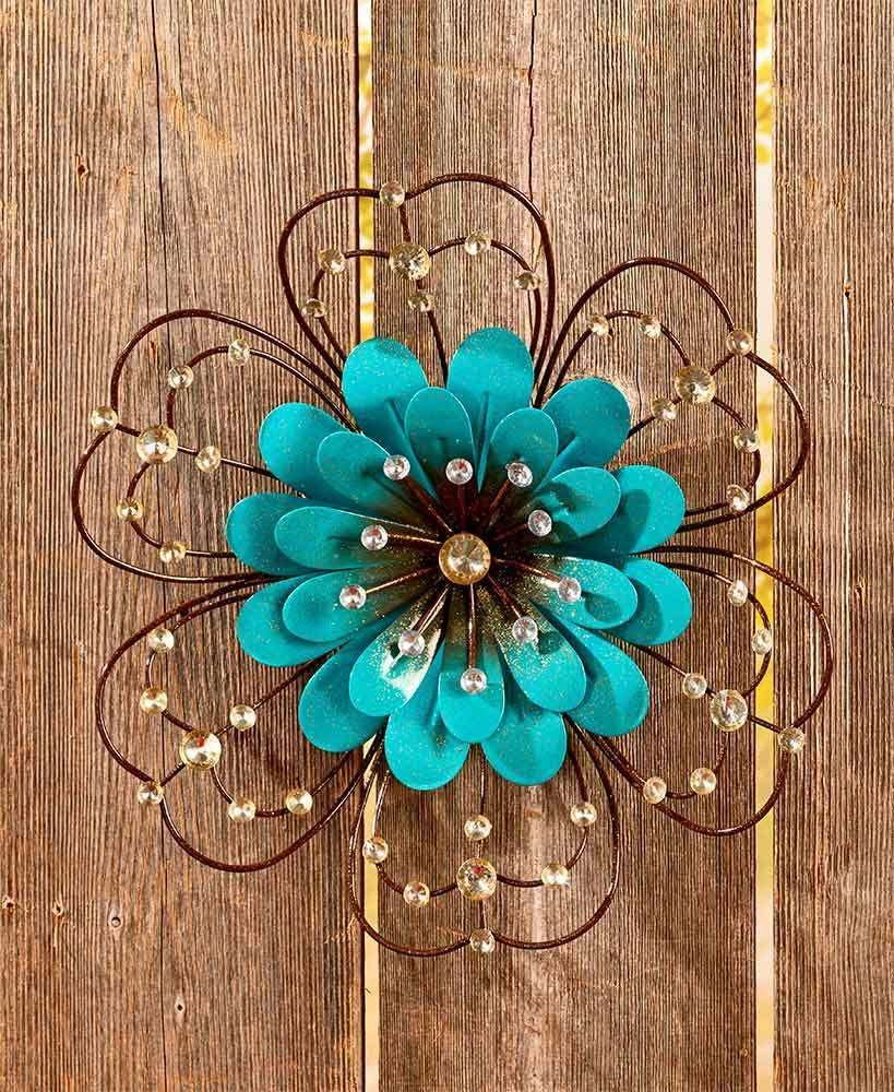 Blue Flower Jeweled Metal Wall Art Sculpture Indoor Outdoor Floral Home Decor Afoyft Metal Flower Wall Art Flower Wall Art Decor Outdoor Wall Art