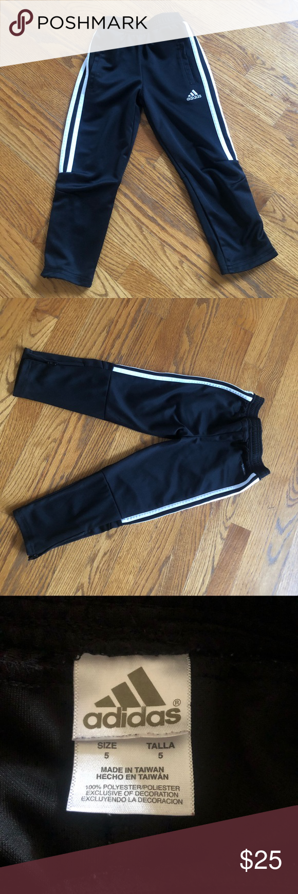 Adidas boys size 5 track pants with
