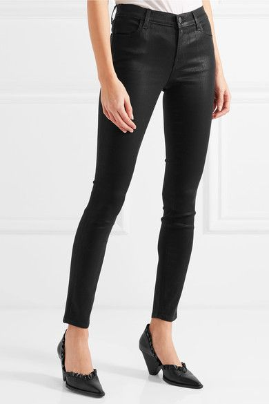 4da92950abb9 J Brand - 620 Super Skinny Coated Mid-rise Jeans - Black - 27 ...