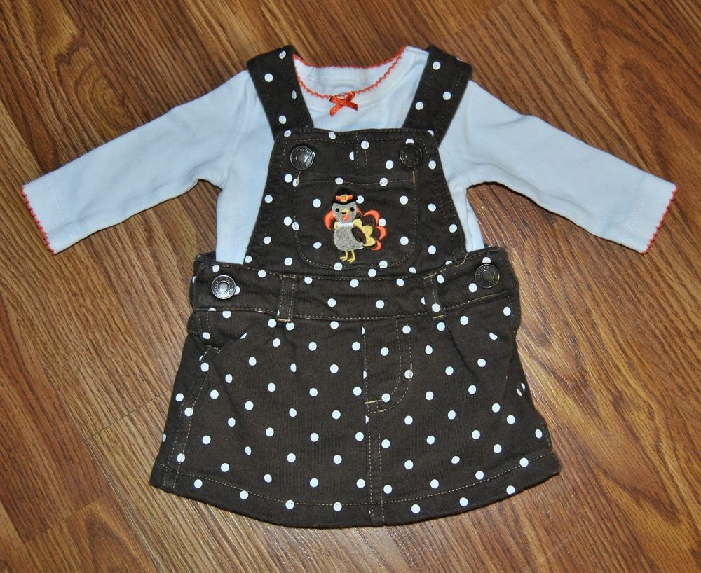 987d09c6e418 CARTERS NEWBORN GIRLS THANKSGIVING OUTFIT DRESS POLKA DOT TURKEY FIRST EUC # Carters #CasualParty