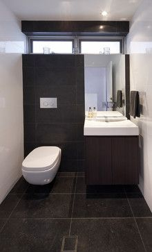 Powder Room Colour Scheme Dark Timber Dark Grey Tiles And White
