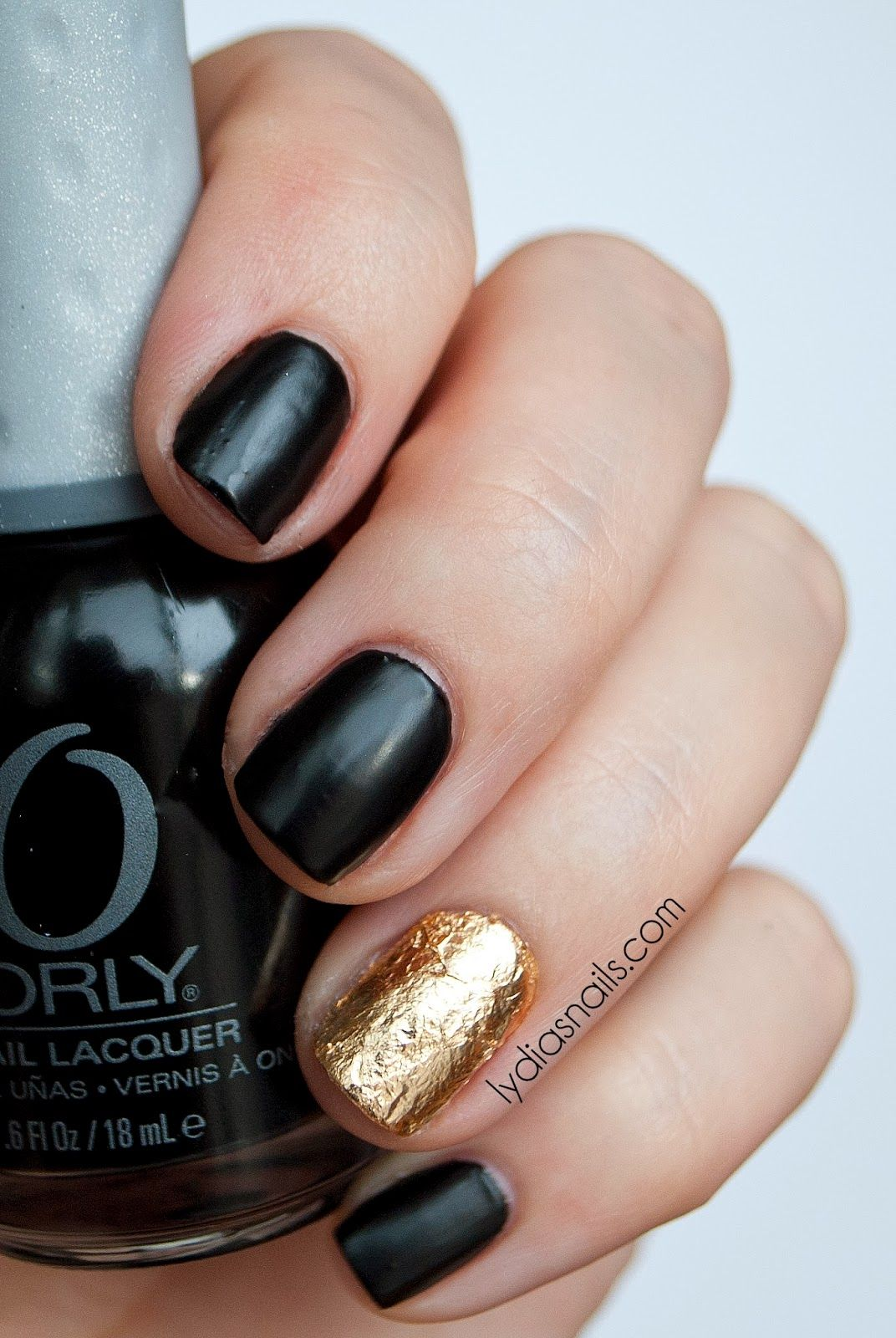 Matte Black and Gold Nails | Nails | Pinterest | Gold nail, Accent ...