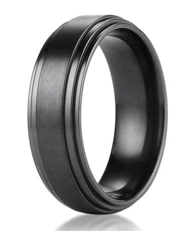 8mm Benchmark Black Titanium Men S Wedding Ring With Step Down Edges Mens Wedding Rings Mens Wedding Rings Titanium Titanium Wedding Rings