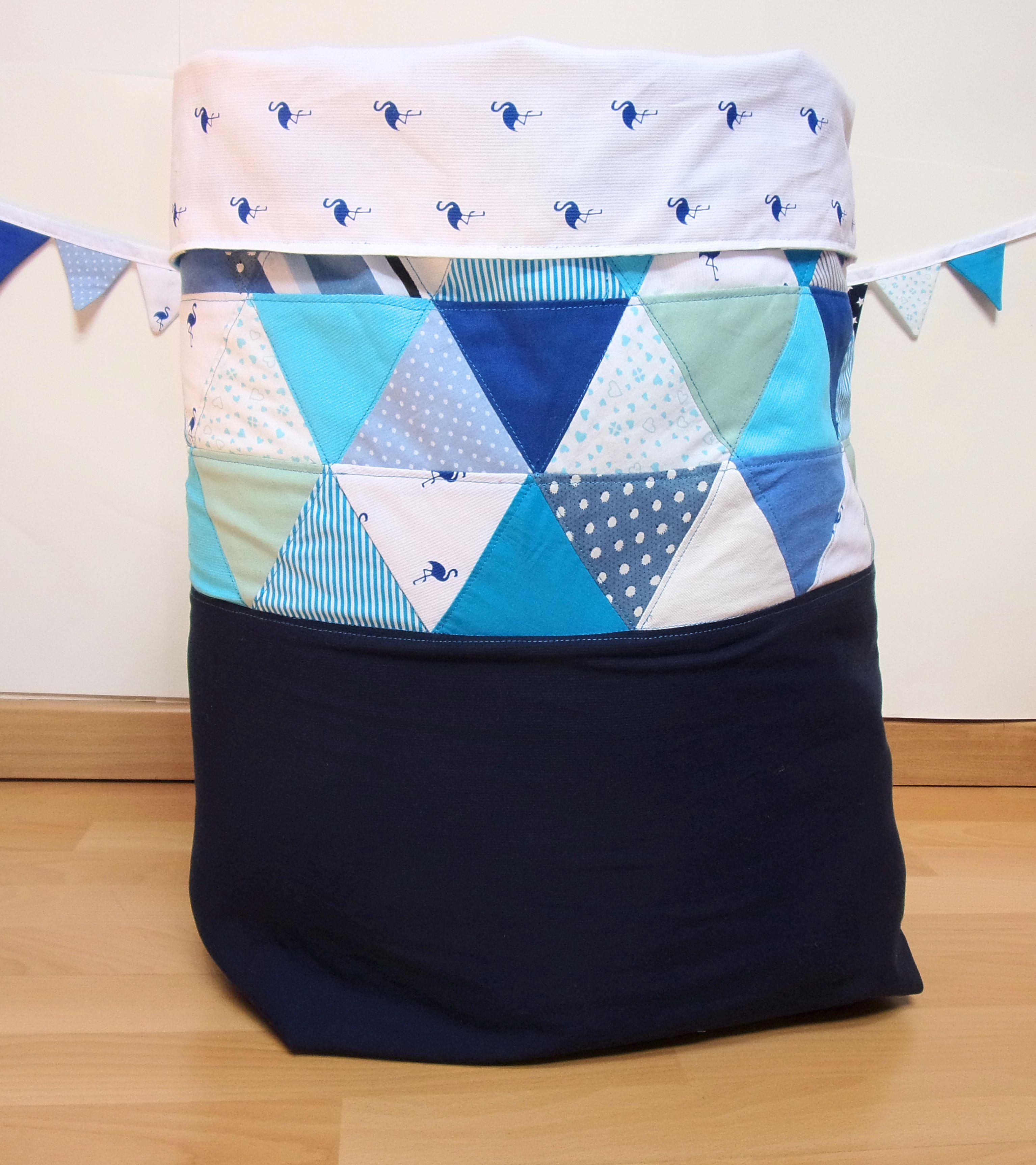 sac  jouets en patchwork bleu sac  linge en patchwork bleu