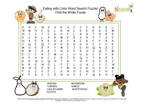 Fun 8 word search puzzle the promotes the healthy fruits and vegetables that color your plate with white.