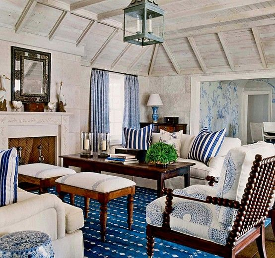 Blue and white room Dark wood, light upholstery. White walls#Pin By:Pinterest++ for iPad#