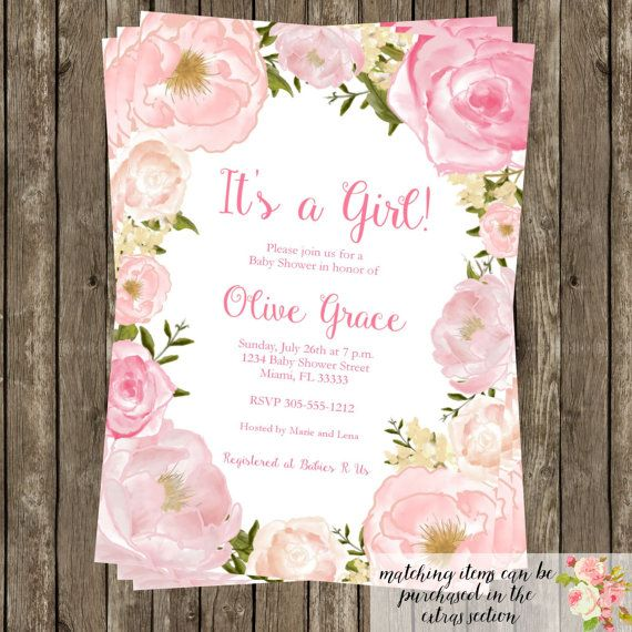 Watercolor Floral Baby Shower Invitation Floral Baby Shower