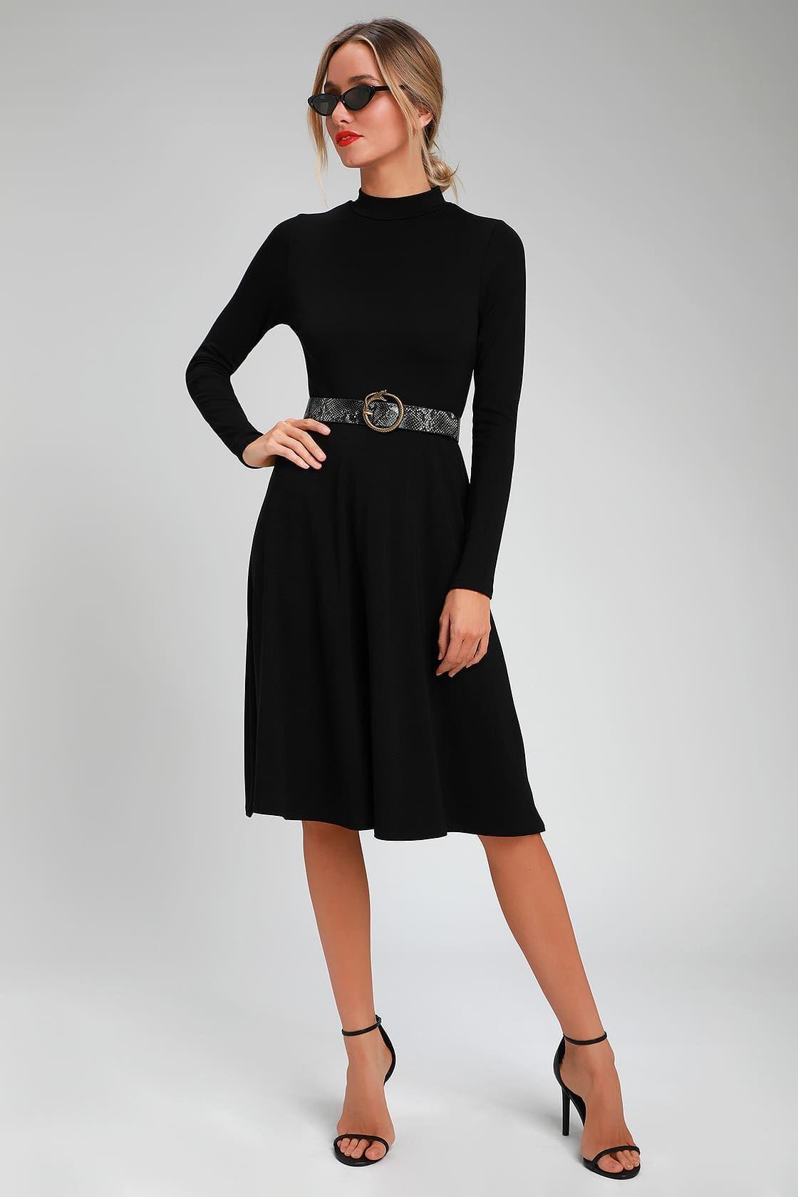 Maliyah Black Long Sleeve Midi Skater Dress Black Long Sleeve Dress Long Sleeve Short Dress Midi Skater Dress [ 1680 x 1120 Pixel ]