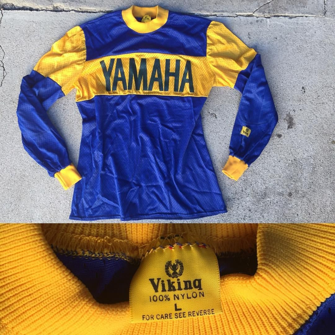 Sold Vintage Viking Dead Stock Yamaha Mx Jersey In Dark Blue And Gold Sz Vintage Large Would Fit Modern D Mx Jersey Motorcycle Outfit Racing Shirts