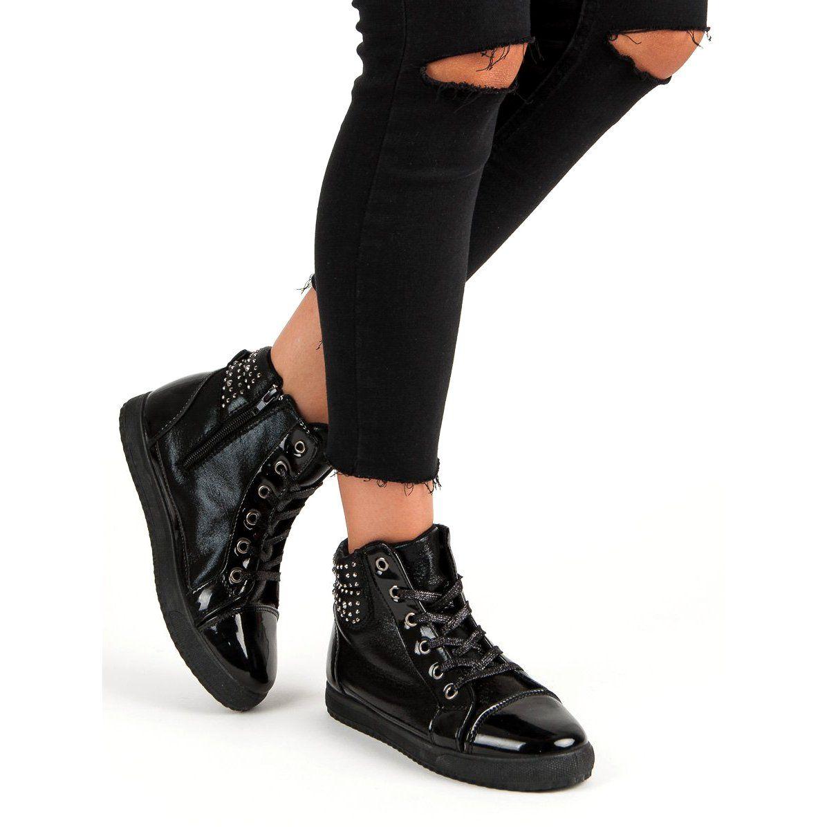 Sportowe Damskie Butymodne Czarne Wiazane Sneakersy Butymodne All Black Sneakers Wedge Sneaker Shoes