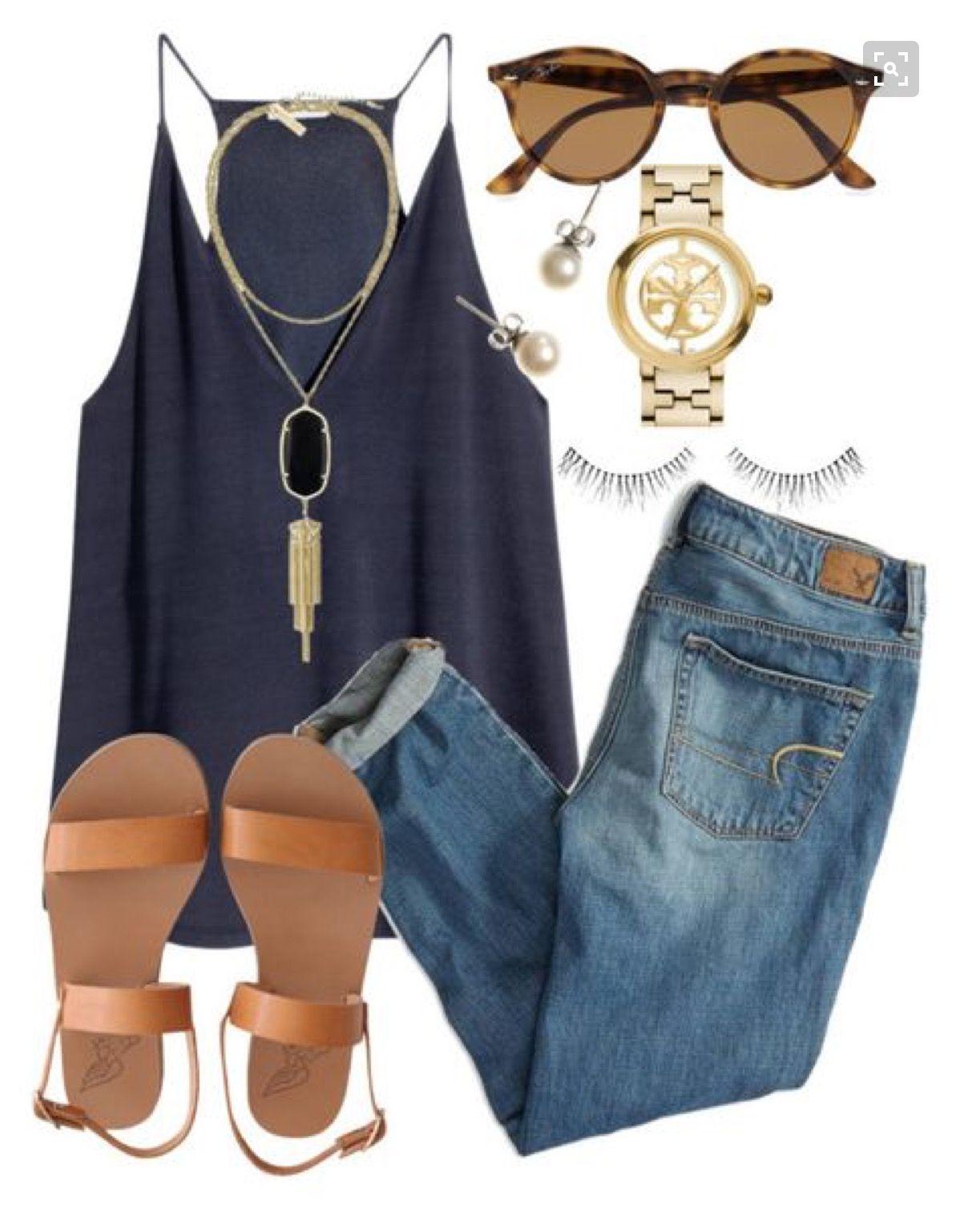 Para la primavera, las sandalias cafés, los jeans apretados, las gafas de sol caras, la camiseta sin mangas azul, y los aretes hermosos. Cuesta 203€ / $217.23 Clavado por: Megan Day