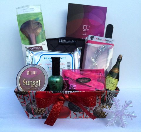 Super cute Christmas Makeup Gift Basket – Wonderfully Made Baskets ...