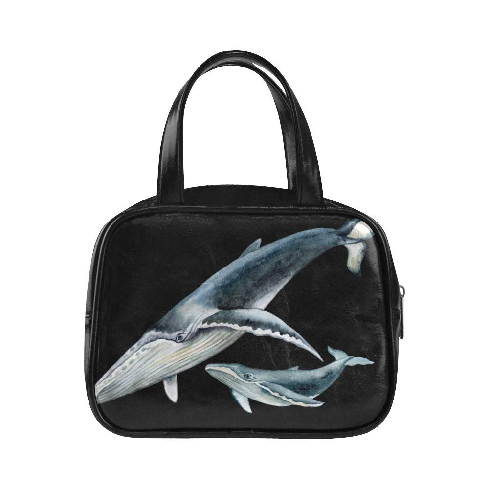 Cute Woman Bags Huge Animal Whale In The Ocean Handbag Zippers Womans Handbags Pu Leather Top Handle Satchel Handbag Cover, #Ad #Whale, #Animal, #Handbag, #Ocean